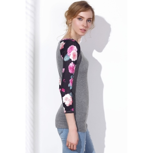 Stylish Scoop Neck Floral Printed 3/4 Sleeve Baseball T-Shirt For Women -