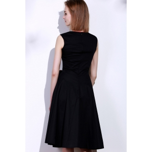 Vintage Sweetheart Neck Bowknot Embellished Sleeveless Dress For Women - BLACK 2XL