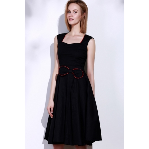 Vintage Sweetheart Neck Bowknot Embellished Sleeveless Dress For Women -