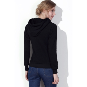 Stylish Hooded Long Sleeve Drawstring Solid Color Women's Hoodie - BLACK S