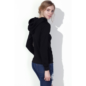 Stylish Hooded Long Sleeve Drawstring Solid Color Women's Hoodie -