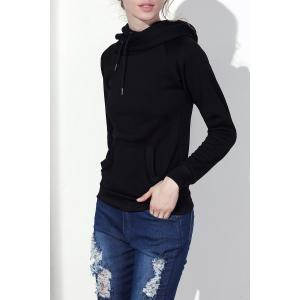 Stylish Hooded Long Sleeve Drawstring Solid Color Women's Hoodie - Black - S