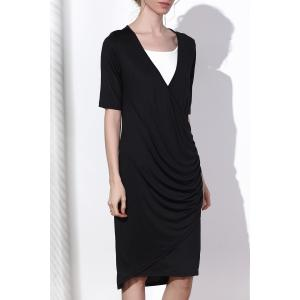 Sexy Black V-Neck Half Sleeve Side Zippered Bodycon Dress For Women - Black - Xl