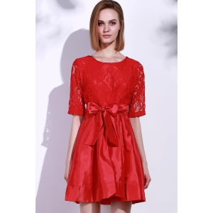 Elegant Round Neck Half Sleeve Hollow Out Bowknot Embellished Women's Dress - Red - L