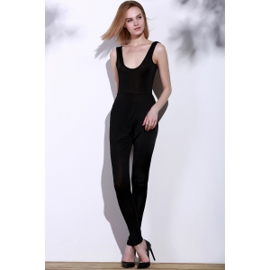 Scoop Neck Skinny Sleeveless Jumpsuit -