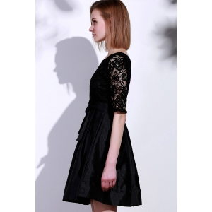 Elegant Round Neck Half Sleeve Hollow Out Bowknot Embellished Women's Dress - BLACK XL