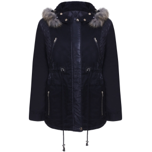 Women's Stylish Faux Fur Hooded Long Sleeve PU Splicing Thick Coat