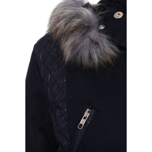 Women's Stylish Faux Fur Hooded Long Sleeve PU Splicing Thick Coat - BLACK XL