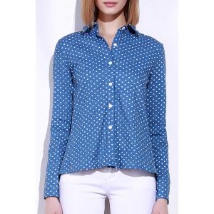 Stylish Stand-Up Collar Long Sleeve Polka Dot Slit Women's Shirt