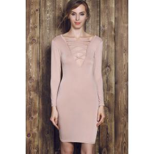 Plunge Criss Cross Long Sleeve Fitted Cream Dress - APRICOT S
