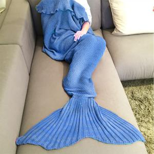 Fashion Comfortable Falbala Decor Knitted Mermaid Design Throw Blanket - Royal Blue