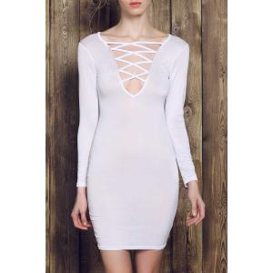 Plunge Criss Cross Long Sleeve Fitted Cream Dress - White - S