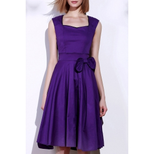 Vintage Sweetheart Neck Bowknot Embellished Sleeveless Dress For Women