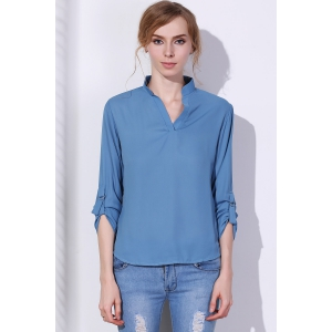 Brief V-Neck 3/4 Sleeve Solid Color Chiffon Blouse For Women -