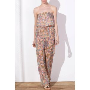 Waist Self-Tie Loose Strapless Jumpsuit