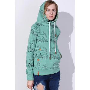 Stylish Hooded Long Sleeve Deer Print Women's Hoodie -