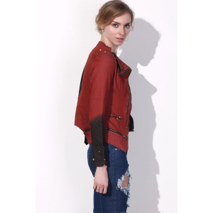 Punk Turn-Down Neck Long Sleeve Studded Hit Color Women's Jacket -