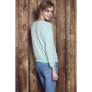 Stylish V-Neck Long Sleeve Zippered Loose-Fitting Women's Sweatshirt - GREEN M