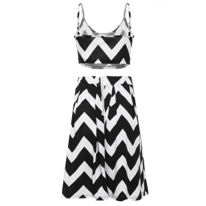 Stylish Spaghetti Strap Tank Top + High-Waisted Wave Print Skirt Women's Twinset -