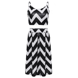 Stylish Spaghetti Strap Tank Top + High-Waisted Wave Print Skirt Women's Twinset - White And Black - M