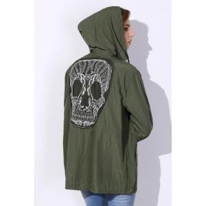 Chic Hooded Long Sleeve Skull Pattern Loose-Fitting Women's Coat - ARMY GREEN ONE SIZE(FIT SIZE XS TO M)