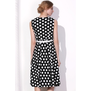 Vintage Round Collar Polka Dot Print Sleeveless Dress For Women - BLACK 2XL