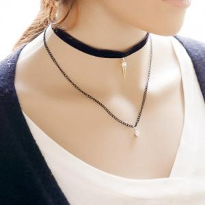 Punk Style Rhinestone Cone Choker Necklace For Women - BLACK