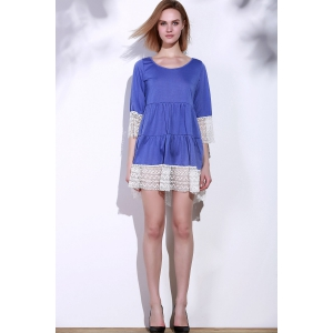 Casual Lace Splicing Loose-Fitting A Line Dress - PURPLE S