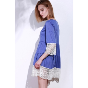 Casual Lace Splicing Loose-Fitting A Line Dress -
