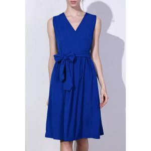 Stylish V-Neck Sleeveless Solid Color Plus Size Women's Dress - Sapphire Blue - 3xl