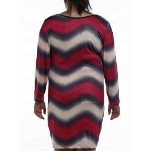 Chic Plunging Neck Long Sleeve Plus Size Zigzag Stripe Nightdress For Women - RED 3XL