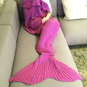 Fashion Comfortable Falbala Decor Knitted Mermaid Design Throw Blanket - Rose - One Size(fit Size Xs To M)