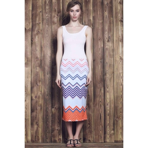 Square Neck Bodycon Chevron Maxi Dress -
