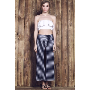 Stripe Wide Leg Yoga Pants - PURPLISH BLUE S