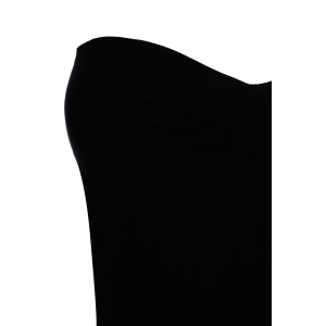 Sexy Wrapped Chest Solid Color Backless One-Piece Women's Swimwear - BLACK M