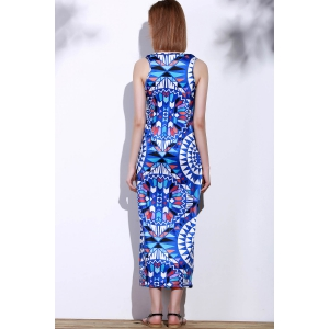 Bohemian Scoop Neck Sleeveless Printed Maxi Dress For Women - BLUE S