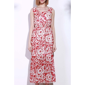 Bohemian Style Printed Sleeveless Porcelain Maxi Dress For Women