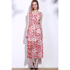 Bohemian Style Printed Sleeveless Porcelain Maxi Dress For Women - RED ONE SIZE(FIT SIZE XS TO M)