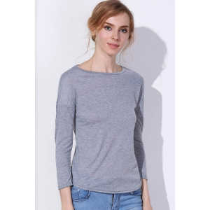 Chic Scoop Neck Solid Color 3/4 Sleeve T-Shirt For Women -