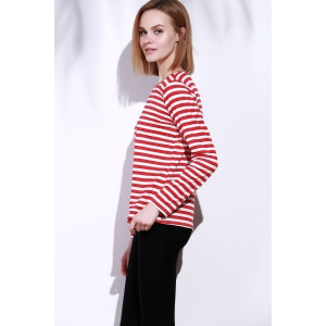 Casual Round Collar Stripes Print Long Sleeve T-Shirt For Women - RED S