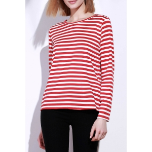 Casual Round Collar Stripes Print Long Sleeve T-Shirt For Women