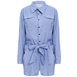 Tie Belt Long Sleeve Denim Romper