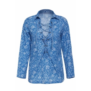 Stylish Turn-Down Collar Long Sleeve Printed Hollow Out Women's Blouse - Colormix - S