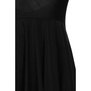 Strappy Criss-Cross Skirted Swimsuit - BLACK M
