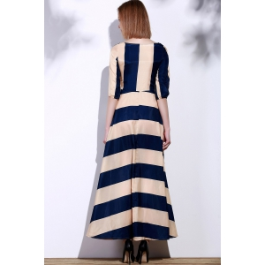 Stylish Scoop Neck 3/4 Sleeve Striped Women's Maxi Dress -