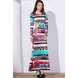 Maxi Back Cut Out Printed Long Sleeve Prom Dress - COLORMIX S