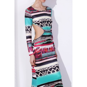 Maxi Back Cut Out Printed Long Sleeve Prom Dress -