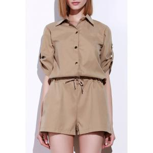 Fashionable Shirt Collar Solid Color Drawstring Waist Romper For Women