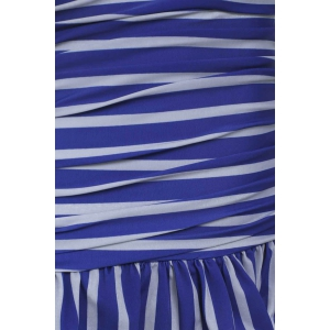 Stripe Halter Neck Ruffled One Piece Swimwear - STRIPES XL