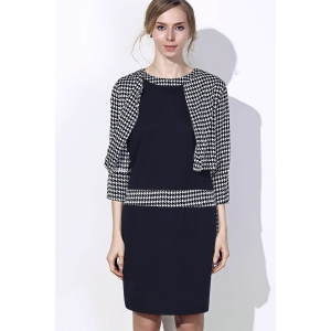Chic Polka Dot Print Color Block Bodycon Dress and Jacket Twinset For Women -